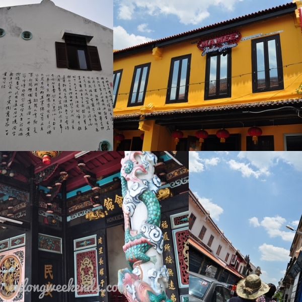 Backstreet guest house, Mamee restaurant, sunny day and a colorful temple