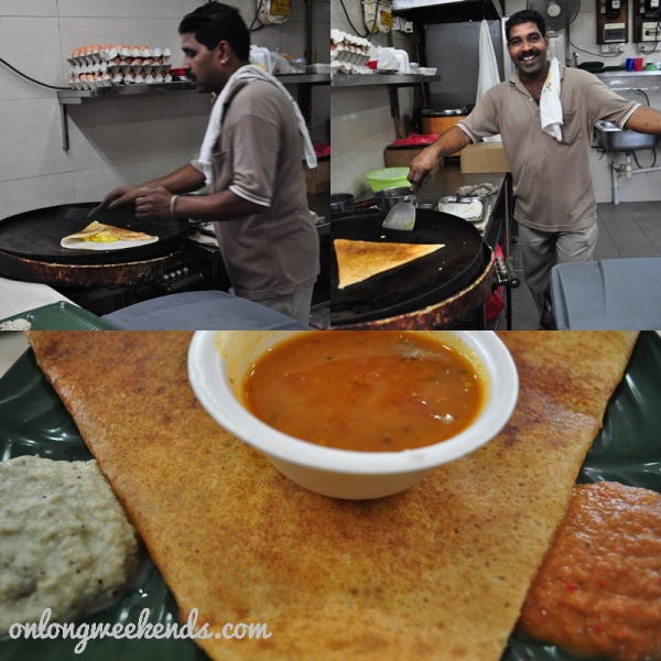 Manong and my dosai. A naan with curried potatoes stuffed in it.